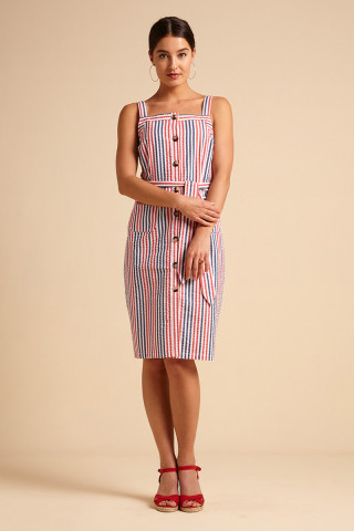 Robe Beth Pinafore Bellaria Stripe