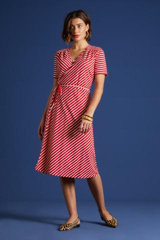 Mandy Wrap Dress Breton Stripe